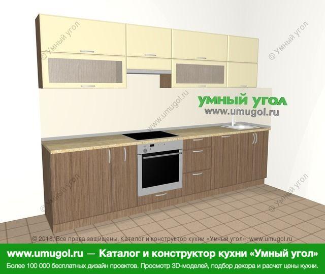 Прямая кухня МДФ матовый 6,0 м², 3000 мм, Ваниль / Лиственница бронзовая: верхние модули 720 мм, корзина-бутылочница, встроенный духовой шкаф, посудомоечная машина
