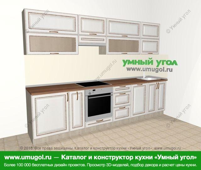 Прямая кухня МДФ патина 6,0 м², 3000 мм, Лиственница белая: верхние модули 720 мм, корзина-бутылочница, встроенный духовой шкаф, посудомоечная машина