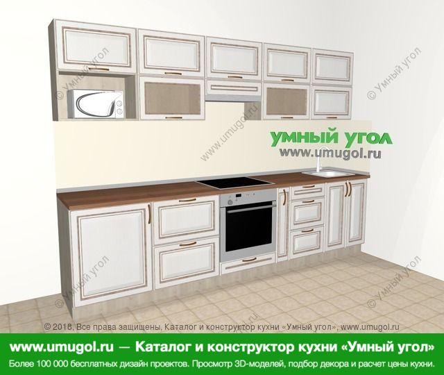 Прямая кухня МДФ патина 6,0 м², 3000 мм, Лиственница белая: верхние модули 720 мм, встроенный духовой шкаф, корзина-бутылочница, модуль под свч