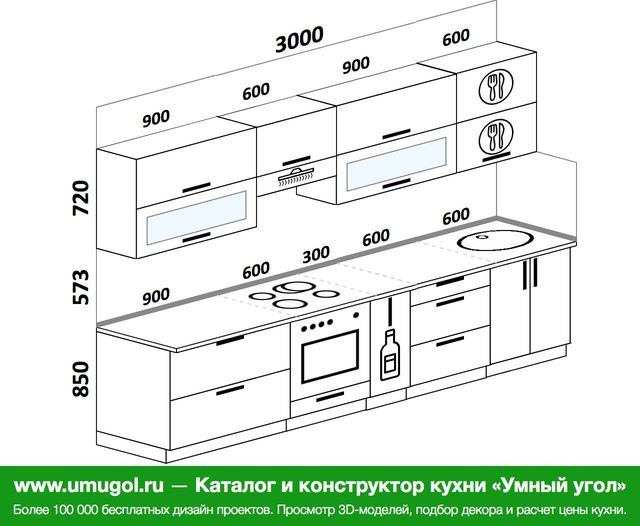 Планировка прямой кухни 6,0 м², 3000 мм: верхние модули 720 мм, встроенный духовой шкаф, корзина-бутылочница