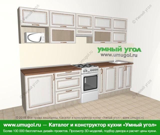 Прямая кухня МДФ патина 6,0 м², 3000 мм, Лиственница белая: верхние модули 720 мм, отдельно стоящая плита, корзина-бутылочница, посудомоечная машина, модуль под свч
