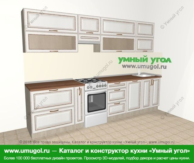 Прямая кухня МДФ патина 6,0 м², 3000 мм, Лиственница белая: верхние модули 720 мм, корзина-бутылочница, отдельно стоящая плита, посудомоечная машина