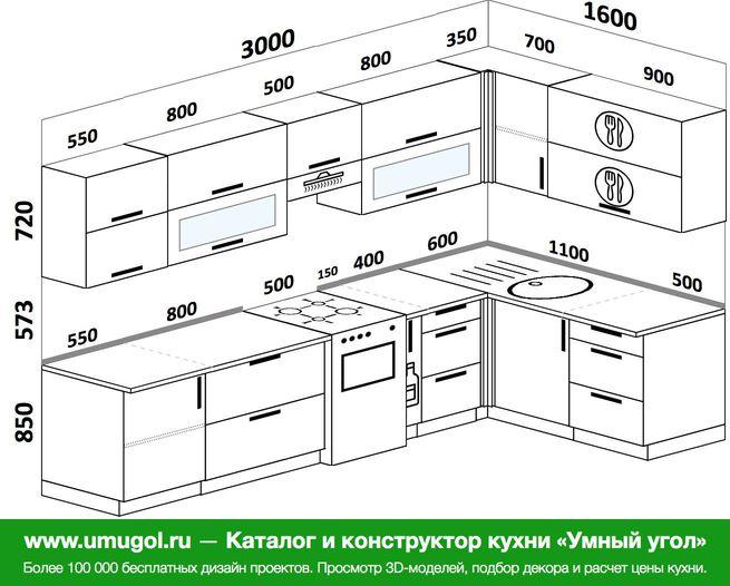 Планировка угловой кухни 7,5 м², 300 на 160 см