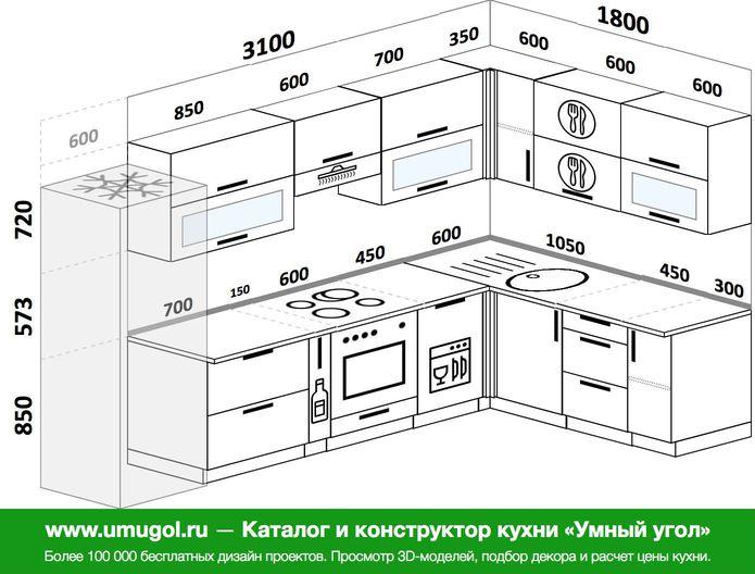 Планировка угловой кухни 8,3 м², 310 на 180 см