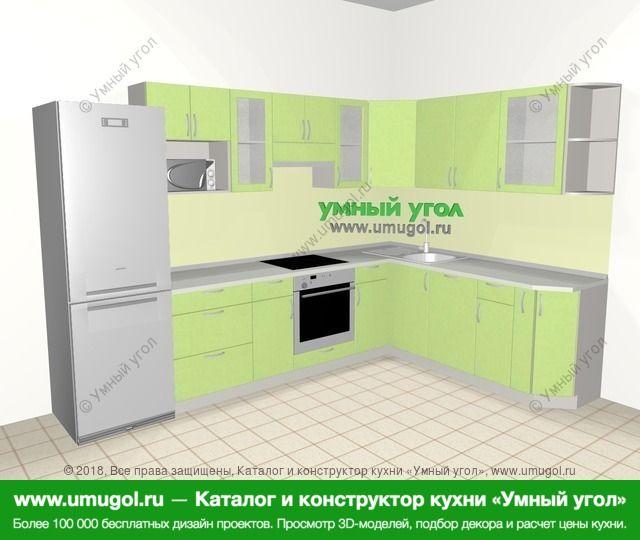 Угловая кухня МДФ металлик 9,3 м², 3100 на 2100 мм, Салатовый металлик: верхние модули 720 мм, холодильник, встроенный духовой шкаф, посудомоечная машина, корзина-бутылочница, модуль под свч