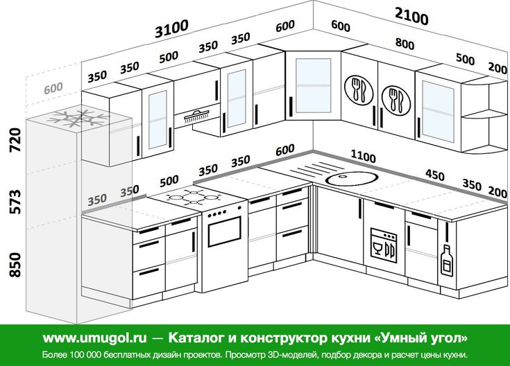 Планировка угловой кухни 9,3 м², 3100 на 2100 мм: верхние модули 720 мм, холодильник, отдельно стоящая плита, посудомоечная машина, корзина-бутылочница