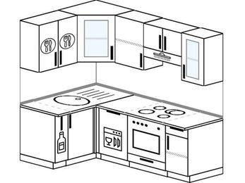 Планировка угловой кухни 5,0 м², 120 на 200 см (зеркальный проект): верхние модули 72 см, корзина-бутылочница, посудомоечная машина, встроенный духовой шкаф