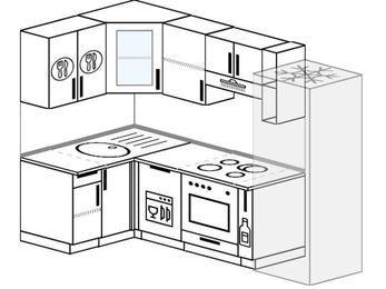 Планировка угловой кухни 5,2 м², 120 на 240 см (зеркальный проект): верхние модули 72 см, посудомоечная машина, встроенный духовой шкаф, корзина-бутылочница, холодильник