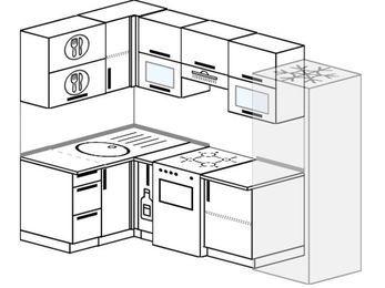 Планировка угловой кухни 5,2 м², 120 на 240 см (зеркальный проект): верхние модули 72 см, корзина-бутылочница, отдельно стоящая плита, холодильник