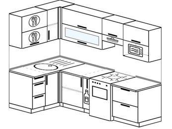 Планировка угловой кухни 5,2 м², 120 на 240 см (зеркальный проект): верхние модули 72 см, корзина-бутылочница, отдельно стоящая плита, верхний модуль под свч