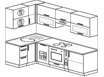 Планировка угловой кухни 5,2 м², 1200 на 2400 мм (зеркальный проект): верхние модули 720 мм, посудомоечная машина, встроенный духовой шкаф, корзина-бутылочница