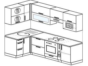 Планировка угловой кухни 5,2 м², 1200 на 2400 мм (зеркальный проект): верхние модули 720 мм, встроенный духовой шкаф, корзина-бутылочница, верхний модуль под свч