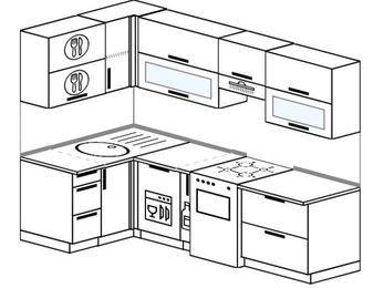 Планировка угловой кухни 5,2 м², 120 на 240 см (зеркальный проект): верхние модули 72 см, посудомоечная машина, корзина-бутылочница, отдельно стоящая плита