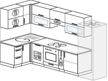 Угловая кухня 6,3 м² (1,2✕3,0 м), верхние модули 72 см, посудомоечная машина, встроенный духовой шкаф, холодильник