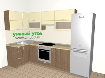 Угловая кухня МДФ матовый 6,3 м², 1200 на 3000 мм (зеркальный проект), Ваниль / Лиственница бронзовая, верхние модули 720 мм, посудомоечная машина, встроенный духовой шкаф, холодильник