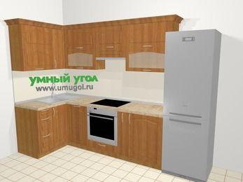Угловая кухня МДФ матовый в классическом стиле 6,3 м², 120 на 300 см (зеркальный проект), Вишня, верхние модули 72 см, посудомоечная машина, встроенный духовой шкаф, холодильник