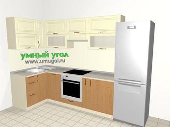Угловая кухня из МДФ + ЛДСП 6,3 м², 1200 на 3000 мм (зеркальный проект), Ваниль / Ольха, верхние модули 720 мм, посудомоечная машина, встроенный духовой шкаф, холодильник