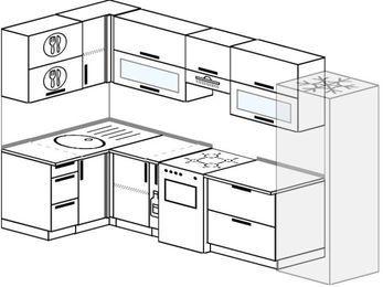 Угловая кухня 6,3 м² (1,2✕3,0 м), верхние модули 72 см, холодильник, отдельно стоящая плита