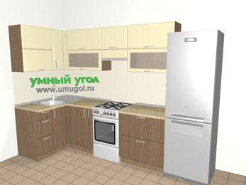 Угловая кухня МДФ матовый 6,3 м², 1200 на 3000 мм (зеркальный проект), Ваниль / Лиственница бронзовая, верхние модули 720 мм, холодильник, отдельно стоящая плита