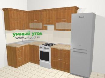 Угловая кухня МДФ матовый в классическом стиле 6,3 м², 120 на 300 см (зеркальный проект), Вишня, верхние модули 72 см, холодильник, отдельно стоящая плита
