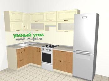 Угловая кухня из МДФ + ЛДСП 6,3 м², 1200 на 3000 мм (зеркальный проект), Ваниль / Ольха, верхние модули 720 мм, холодильник, отдельно стоящая плита