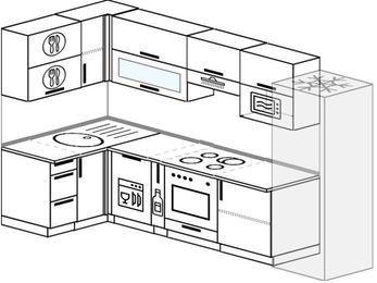 Угловая кухня 6,3 м² (1,2✕3,0 м), верхние модули 72 см, посудомоечная машина, верхний модуль под свч, встроенный духовой шкаф, холодильник