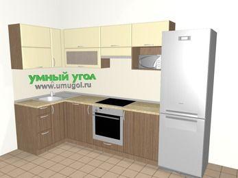 Угловая кухня МДФ матовый 6,3 м², 1200 на 3000 мм (зеркальный проект), Ваниль / Лиственница бронзовая, верхние модули 720 мм, посудомоечная машина, верхний модуль под свч, встроенный духовой шкаф, холодильник