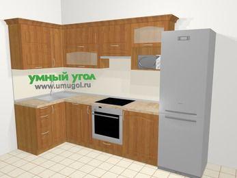 Угловая кухня МДФ матовый в классическом стиле 6,3 м², 120 на 300 см (зеркальный проект), Вишня, верхние модули 72 см, посудомоечная машина, верхний модуль под свч, встроенный духовой шкаф, холодильник