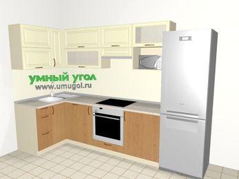 Угловая кухня из МДФ + ЛДСП 6,3 м², 1200 на 3000 мм (зеркальный проект), Ваниль / Ольха, верхние модули 720 мм, посудомоечная машина, верхний модуль под свч, встроенный духовой шкаф, холодильник