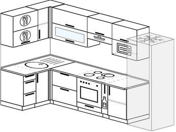 Угловая кухня 6,3 м² (1,2✕3,0 м), верхние модули 72 см, верхний модуль под свч, встроенный духовой шкаф, холодильник