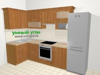 Угловая кухня МДФ матовый в классическом стиле 6,3 м², 120 на 300 см (зеркальный проект), Вишня, верхние модули 72 см, верхний модуль под свч, встроенный духовой шкаф, холодильник