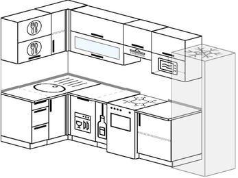 Угловая кухня 6,3 м² (1,2✕3,0 м), верхние модули 72 см, посудомоечная машина, верхний модуль под свч, холодильник, отдельно стоящая плита