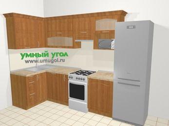 Угловая кухня МДФ матовый в классическом стиле 6,3 м², 120 на 300 см (зеркальный проект), Вишня, верхние модули 72 см, посудомоечная машина, верхний модуль под свч, холодильник, отдельно стоящая плита