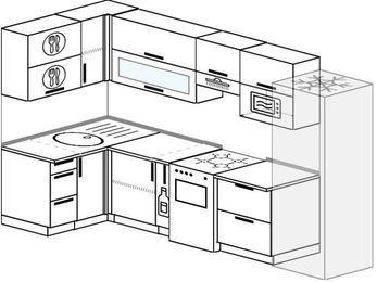 Угловая кухня 6,3 м² (1,2✕3,0 м), верхние модули 72 см, верхний модуль под свч, холодильник, отдельно стоящая плита
