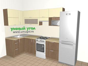 Угловая кухня МДФ матовый 6,3 м², 1200 на 3000 мм (зеркальный проект), Ваниль / Лиственница бронзовая, верхние модули 720 мм, верхний модуль под свч, холодильник, отдельно стоящая плита