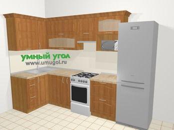Угловая кухня МДФ матовый в классическом стиле 6,3 м², 120 на 300 см (зеркальный проект), Вишня, верхние модули 72 см, верхний модуль под свч, холодильник, отдельно стоящая плита