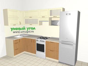 Угловая кухня из МДФ + ЛДСП 6,3 м², 1200 на 3000 мм (зеркальный проект), Ваниль / Ольха, верхние модули 720 мм, верхний модуль под свч, холодильник, отдельно стоящая плита