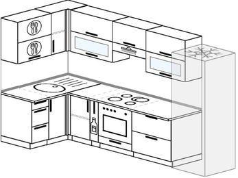 Планировка угловой кухни 6,3 м², 120 на 300 см (зеркальный проект): верхние модули 72 см, корзина-бутылочница, встроенный духовой шкаф, холодильник