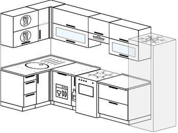 Угловая кухня 6,3 м² (1,2✕3,0 м), верхние модули 72 см, посудомоечная машина, холодильник, отдельно стоящая плита