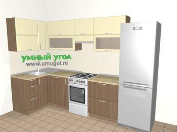 Угловая кухня МДФ матовый 6,3 м², 1200 на 3000 мм (зеркальный проект), Ваниль / Лиственница бронзовая, верхние модули 720 мм, посудомоечная машина, холодильник, отдельно стоящая плита