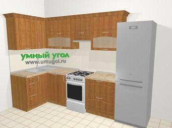 Угловая кухня МДФ матовый в классическом стиле 6,3 м², 120 на 300 см (зеркальный проект), Вишня, верхние модули 72 см, посудомоечная машина, холодильник, отдельно стоящая плита