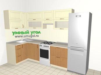 Угловая кухня из МДФ + ЛДСП 6,3 м², 1200 на 3000 мм (зеркальный проект), Ваниль / Ольха, верхние модули 720 мм, посудомоечная машина, холодильник, отдельно стоящая плита
