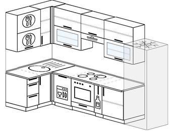 Угловая кухня 6,3 м² (1,2✕3,0 м), верхние модули 920 мм, посудомоечная машина, встроенный духовой шкаф, холодильник