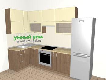 Угловая кухня МДФ матовый 6,3 м², 1200 на 3000 мм (зеркальный проект), Ваниль / Лиственница бронзовая, верхние модули 920 мм, посудомоечная машина, встроенный духовой шкаф, холодильник