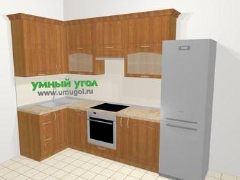 Угловая кухня МДФ матовый в классическом стиле 6,3 м², 120 на 300 см (зеркальный проект), Вишня, верхние модули 92 см, посудомоечная машина, встроенный духовой шкаф, холодильник
