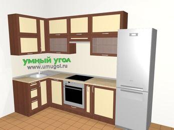 Угловая кухня из рамочного МДФ 6,3 м², 1200 на 3000 мм (зеркальный проект), Вишня темная / Крем, верхние модули 920 мм, посудомоечная машина, встроенный духовой шкаф, холодильник