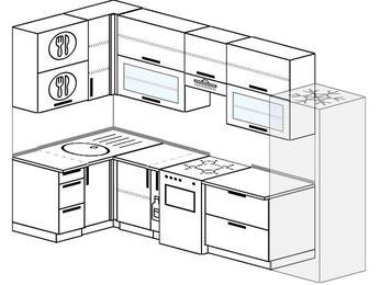 Угловая кухня 6,3 м² (1,2✕3,0 м), верхние модули 920 мм, холодильник, отдельно стоящая плита