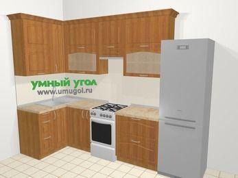 Угловая кухня МДФ матовый в классическом стиле 6,3 м², 120 на 300 см (зеркальный проект), Вишня, верхние модули 92 см, холодильник, отдельно стоящая плита