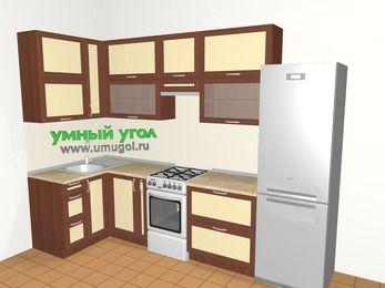 Угловая кухня из рамочного МДФ 6,3 м², 1200 на 3000 мм (зеркальный проект), Вишня темная / Крем, верхние модули 920 мм, холодильник, отдельно стоящая плита