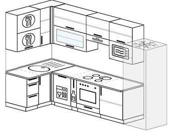 Угловая кухня 6,3 м² (1,2✕3,0 м), верхние модули 920 мм, посудомоечная машина, верхний витринный модуль под свч, встроенный духовой шкаф, холодильник